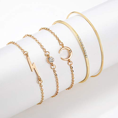 (Peigen Fashionable Bracelet Charm Personality Moon Lightning Full Diamond Five-Piece )