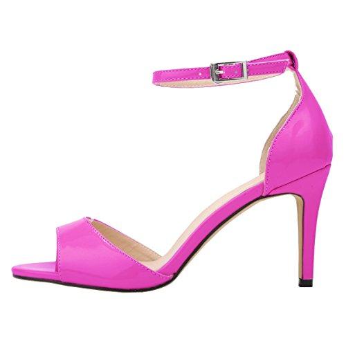 HooH Women's Peep Toe Ankle Strap Stiletto Sandals Purple RebIlHy2iI