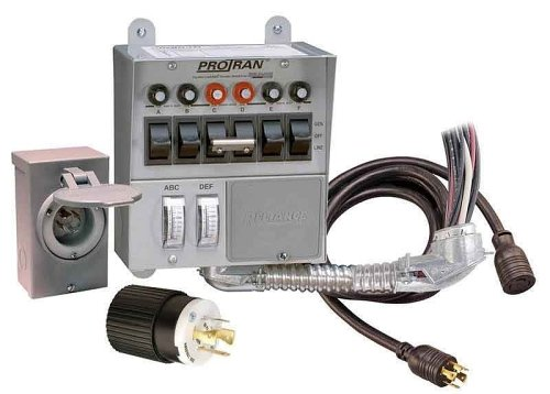 Reliance Controls Corporation 31406CRK 30 Amp 6-circuit Pro/Tran Transfer Switch Kit for Generators (7500 Watts). - Breaker Control Switch