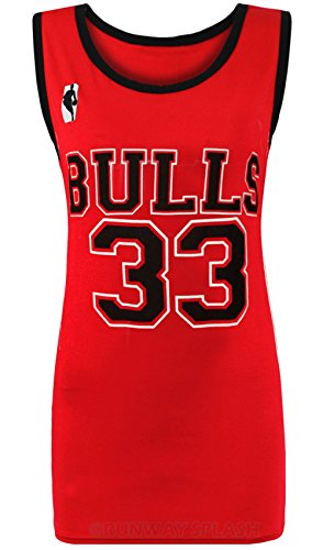Forever Womens Celebrity Inspired Bulls 33 and Heat 6 Print Sports Vest (Miley Cyrus Costume)