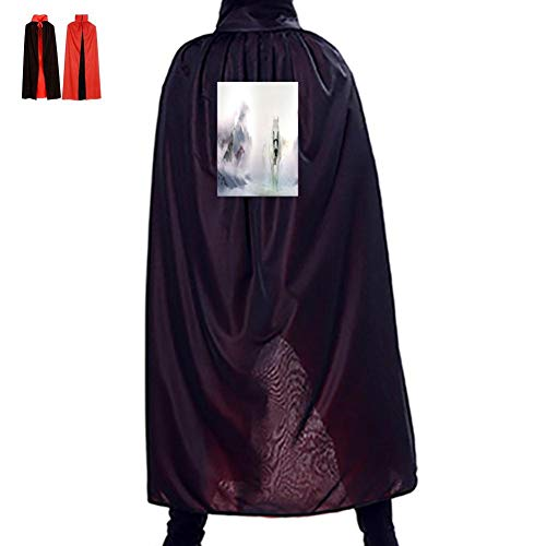 White Ma Helang Double Hooded Robes Cloak Knight Cosplay Costume 29.5(in)