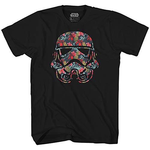Stormtrooper Storm Trooper Tropical Floral Flower Pattern Funny Humor Pun Kids Youth Graphic Tee T-Shirt (Black, Medium (14/16))