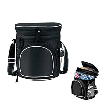 """Lunch Cooler, 9.25"""" BuyAgain 600D Poly Insulated Double Compartment Collapsible Golf Reusable Lunch Cooler Bag, Color Black."""