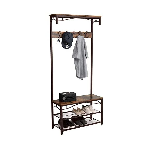 VASAGLE Industrial Coat Rack, 3-in-1 Hall Tree, Entryway Shoe Bench Accent Furniture Metal Frame Large Size UHSR45AX, Rustic Brown (Renewed) - WELCOMES YOU HOME: Eliminate the mess in your hallway with this smart coat shoe rack; perfect balance of clean lines, modern elegance and effortlessly rustic appeal EVERYTHING YOU NEED: After coming back home at the end of the day, just hang your coat, hat and scarves on the top 5 dual hooks, sit on the bench to remove your shoes and put them on the 2 metal mesh storage shelves STABLE AND SAFE: With 4 adjustable feet, the coat rack can stand perfectly stable on carpets or uneven floors; 2 anti-toppling straps are included to ensure safe use - hall-trees, entryway-furniture-decor, entryway-laundry-room - 41M4KvcWm3L. SS570  -