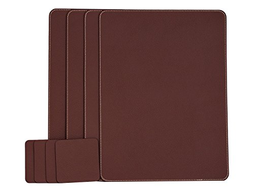 Nikalaz Set of Dark Burgundy Placemats and Coasters, 4 Table Mats and 4 Coasters, Italian Recycled Leather, Place Mats 15.7'' x 11.8'' and Coasters 3.9'' x 3.9'', Dining table set (Italian Dining Table Sets)