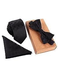 Male Cotton Super-Skinny Cravat Classic Grid Pattern Necktie Mens Polyester Skinny Neck ties Bowtie Pocket Square 3pcs Set Black