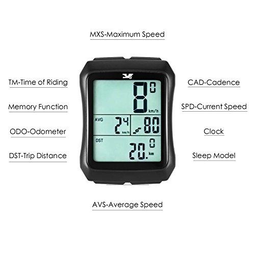 Sospers Bike Computer Waterproof, Wireless Speedometer Cadence, Bicycle Odometer Multi-function Large Screen LCD Display by Speedrid (Image #2)