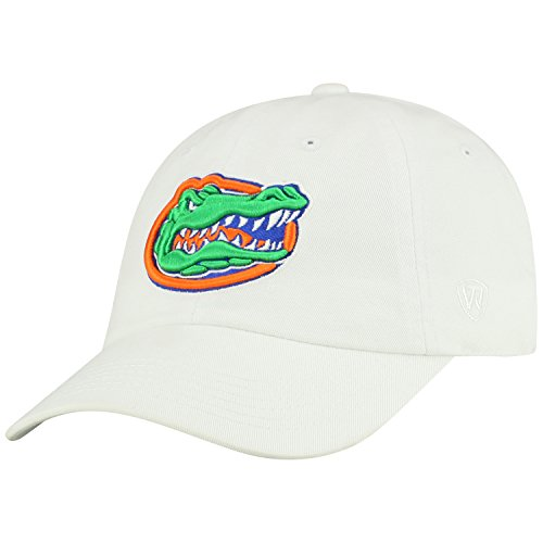 Top of the World NCAA Mens College Town Crew Adjustable Cotton Crew Hat Cap (Florida Gators-White, Adjustable)