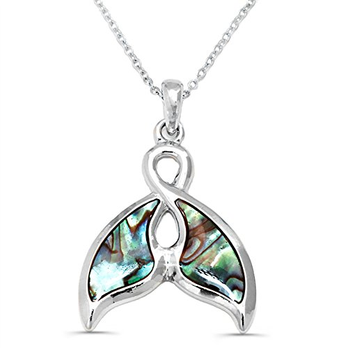 Liavy's Whale Tail Charm Pendant Fashionable Necklace - Abalone Paua Shell - 18