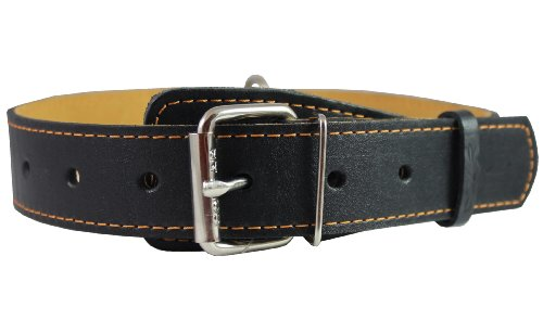 "Genuine Thick Leather Collar for Large and XLarge Dogs 20""-25"" Neck Size, 1.5"" Wide, Black"