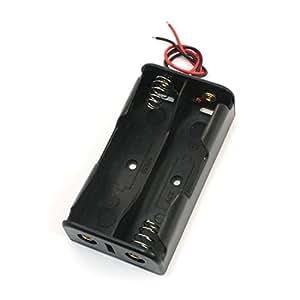 Cables de alambre de almacenamiento caso de la batería Negro sostenedor de la ranura 2 x 18650 3.7V