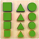 GYBBER&MUMU Wooden Shape Sorting Preschool Colorful Shape Puzzle Toddler Educational Learning Toys...