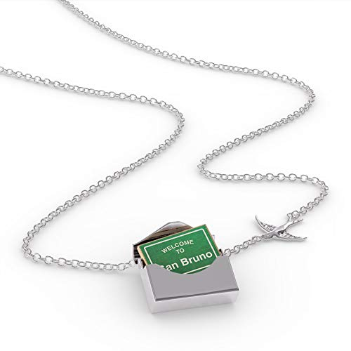 NEONBLOND Locket Necklace Green Road Sign Welcome to San Bruno in a Silver ()