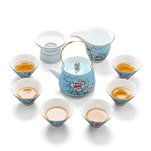 10 Pieces White and Blue Porcelain Ceramic Tea Sets,Bone China Handle Kung Fu Tea Set Kitchen Tea Party, Home Use Gift -