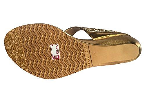 Étape N Style Femmes Chaussures Diamante Mariée Argenté/doré/Sandales à enfiler Wedge Chaussures ethnique indien Gold Antique vWY2q