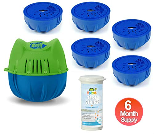Flippin Frog Mineral Water Pool System for Pools 2000 to 5000 Gallons - Full 6 Month Supply Kit Includes 6 Chlorine Cartridges and 50 Frog Test Strips