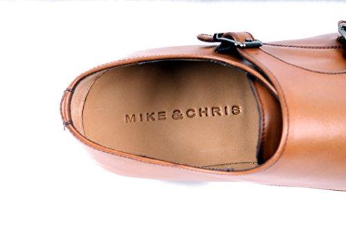 Mike & Chris Welted Scarpe Da Uomo Double Monkstrap Cap Toe Cognac