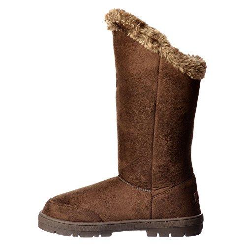 Boot Brown Triple Winter Flat Dark Women's Suede Ella Lined Fur 3 Button CzqxP5p