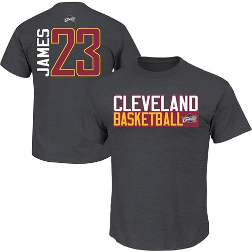Lebron James Cleveland Cavaliers Charcoal Jersey Name and Number T-shirt