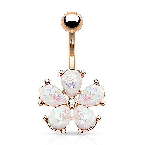 BodyJ4You Belly Button Ring Jeweled Flower Rose Goldtone Navel Piercing Created-Opal 14G Surgical Steel