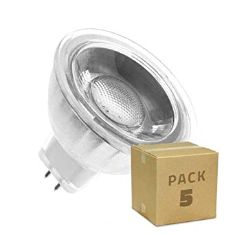 Pack 5 Lámparas LED GU5.3 MR16 COB Cristal 220V 5W Blanco Neutro 4000K efectoLED: Amazon.es: Iluminación