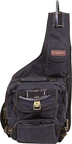 EuroSport Cargo Sling Backpack Black Canvas Bag (Eurosport Canvas Backpack)