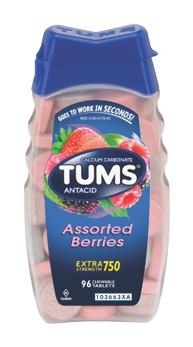 Tums E-X Extra Strength Antacid Chewable Tablets, Berries, 96-Count Bottles (Pack of 4) ()