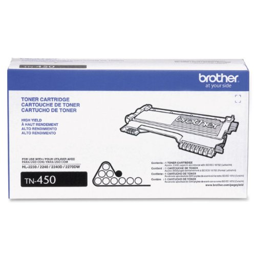 Brother TN450 (TN-450) High-Yield Toner, 2,600 Page-Yield, Black (BRTTN450), Office Central