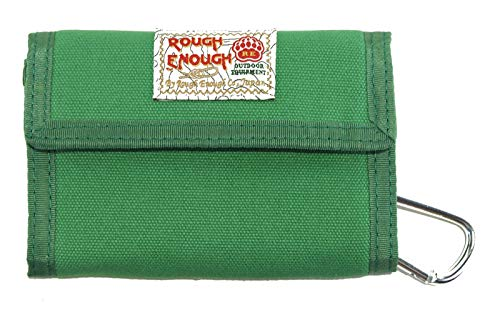 Rough Enough Bifold Green Canvas Front Pocket Credit Card Wallet for Men Women Teen Boy Girl with Coin Zipper Pocket Outdoor School Sport Event Gifts