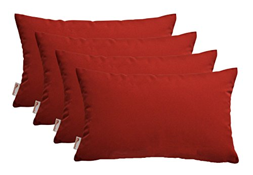 Set of 4 Indoor / Outdoor Decorative Lumbar / Rectangle Pillows - Sunbrella Canvas Jockey Red (Red Sunbrella)
