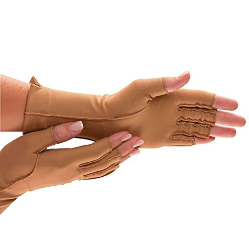 Isotoner Lightweight Gloves - Isotoner Therapeutic Glove, Open Finger Compression Glove, 23-32 mmHg, Pair, Small