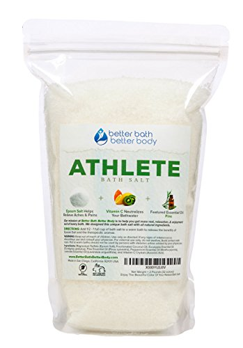 Athlete Bath Salt 2-Lbs (32 Ounces) - Epsom Salt Bath Soak With Pine & Eucalyptus Essential Oil Plus Vitamin C - All Natural No Perfumes No Dyes - Post Workout Soak For Tired Sore Muscles