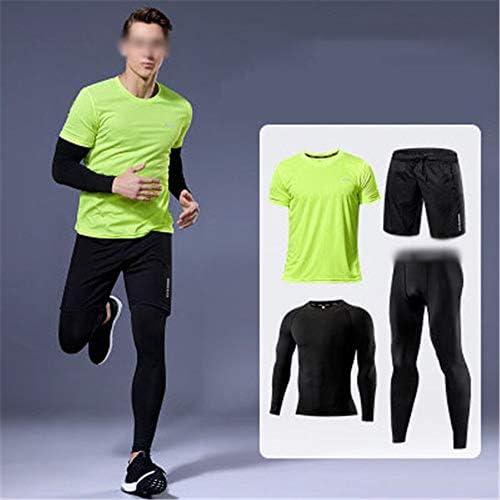 フィットネススーツ 4ピースメンズ実行バスケットボールタイツフィットネス服トレーニング服 体操服 (Color : E, Size : 4XL)