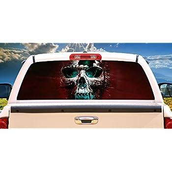 Amazoncom The Punisher Skull Rear Window Graphic Decal Sticker - Window decals for trucks rear