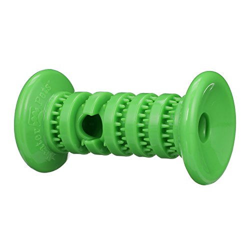- NEATER PET BRANDS Rolly Cannoli - Mess Proof Dog Treater Toy - Barbell (Large Barbell, Green)