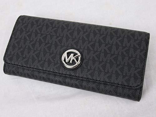 - Michael Kors Signature PVC Fulton Flap Continental Wallet- Black