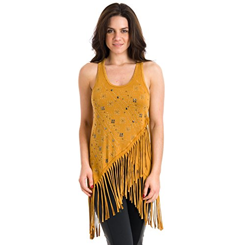 T Party Bejeweled Fringed Top, Tan, Small
