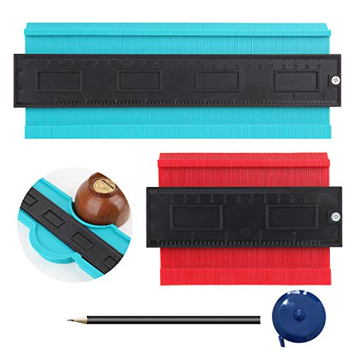 """Contour Gauge, YLCVBUD 2 Pcs 5"""" and 10"""" Profile Gauge Plastic Duplicator Copy Irregular Shapes Tracing Template Measuring Tool with Pencil and tape measure for Corners and Contoured"""