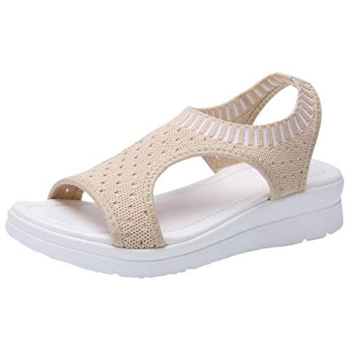 HAPPYSTORE Women Sandals Breathable Summer Hollow Out Wedges African Heel Flat Peep Toe Flip Flop US:5-10 Beige
