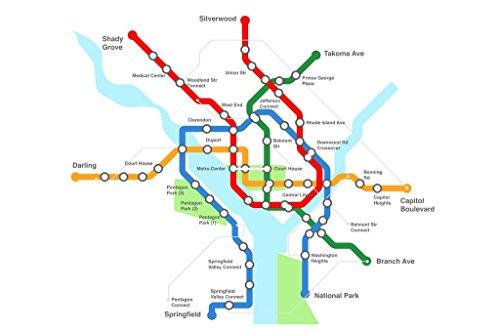 Washington DC Urban Transport Rail Transit Map Mural Giant P