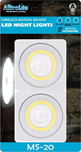 2-Pack MS20 Motion Sensor Light | Under Cabinet Lighting | Closet Light | Wall Light | Battery Powered | Perfect for, Staircase, Hallway, Bathroom, Bedroom, Kitchen | Batteries Included