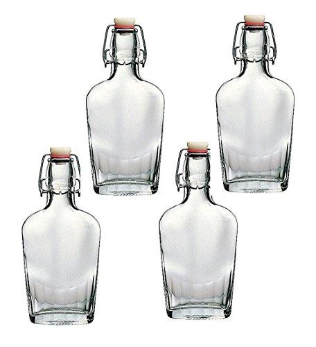 Bormioli Rocco Fiaschetta Glass 8.5 Ounce Pocket Flask, Set of 4 (Pocket Liquor Bottle)