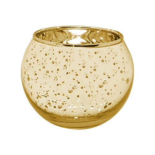 "gbHome GH-6832G48 Votive Tea Light Candle Holder, Speckled Gold Metallic Finish, Lead Free Thick Mercury Glass, Set of 48, 2"" Top D x 2.75"" H, For Weddings, Parties, Decorative LED/Tea Light Candles"