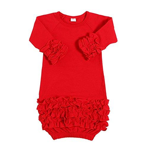 Yihanshangmao Infant Newborn Baby Girl Fold Lace Night Gowns Sleeping Bag Sleepwear (Red, 0-3M) ()