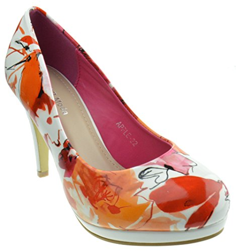 Apple 22 Womens High Heel Floral Patent Pumps Coral (Floral High Heel Pump)
