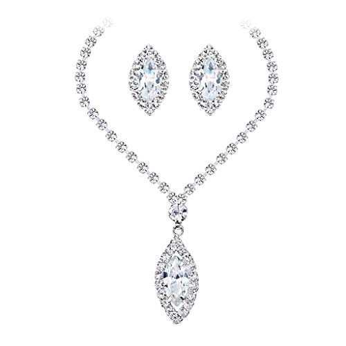 HCDjgh Long Necklaces for Women Gold Plating White Gold Clip Drill High-Gradecopper Necklace Exaggeration Earrings Set