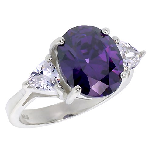 (Sterling Silver Amethyst Cubic Zirconia Engagement Ring Oval 5 ct center Trillium Side stones, size 6)