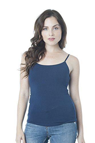Cami Camisole Built in Shelf BRA Adjustable Spaghetti Strap Tank Top Plus Size (3XL, Navy)