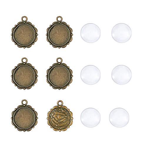 Transparent Antique (Pandahall 20Sets Antique Bronze 14mm DIY Photo Pendant Makings Set with Pendant Cabochon Bezel Blank Settings & Transparent Clear Half Round/Domed Magnifying Glass Cabochon)