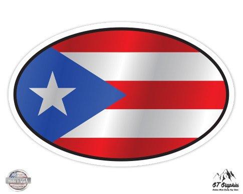 Puerto Rico Flag Oval - 3